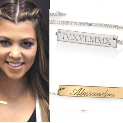 Personalized Gold Bar Necklace, Engraved Bar Necklace, Name Necklace, Nameplate, Mothers Children's Name Monogram, Silver Celebrity Style