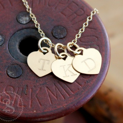 Personalized Gold Heart Necklace, Tiffany Style Heart Necklace, Hand Stamped Initial Necklace, Gold Family Necklace, Mother's Day Gift