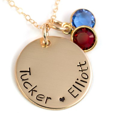 Personalized Gold Mother's Necklace - 14k Gold-Filled Mommy Necklace - Necklace for Mom with Birthstone - Handstamped