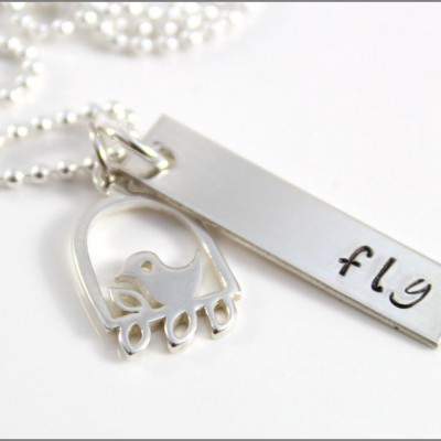 Personalized Graduation Necklace | Sterling Silver Inspirational Jewelry, Fly Necklace with Birdcage Charm, Gifts for Graduate