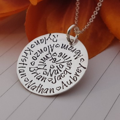 Personalized Grandma Necklace, Kids Name Necklace Sterling Silver, Spiral Hand Stamped, Nana Necklace with Names, Grandma Christmas Gift