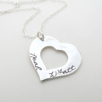 Personalized Heart Necklace - Personalized Jewelry - Kids Names - Custom Mothers Necklace - Grandma - Family - Hand Stamped - Engraved