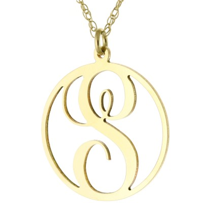 Personalized Initial A-Z Monogram Circle Pendant Necklace in 925 Sterling Silver - Nameplate Necklace