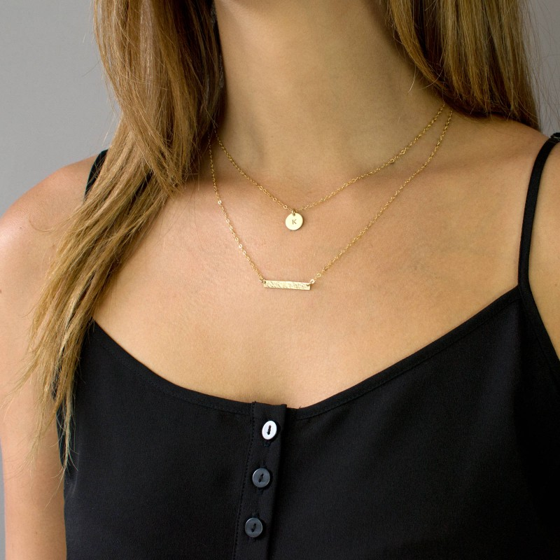 Minimalist Necklace Layering Necklace Jewelry Custom Initial Birthstone Layered Necklace Set Dainty Necklace Pendant Necklace