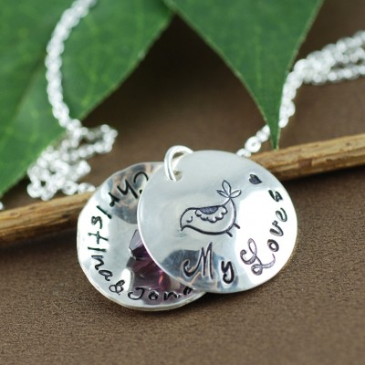 Personalized Mama Bird Locket Necklace   Personalized Necklace   Locket Necklace for Mom   Locket Jewelry   Name Necklace   bird on branch