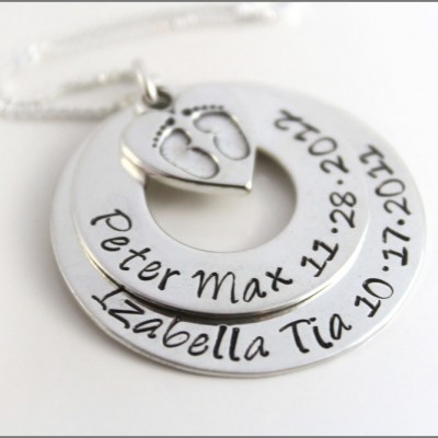 Personalized Mom Necklace | Hand Stamped Mother Necklace,  Baby Feet Necklace, Children's Names Birthdates