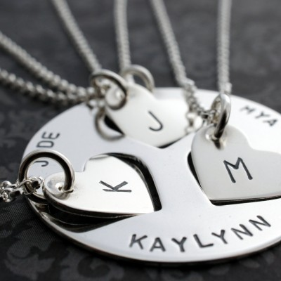 Personalized Mother Daughter Jewelry - Custom Cut Heart Necklace Set for Three Daughters in Sterling Silver by EWD
