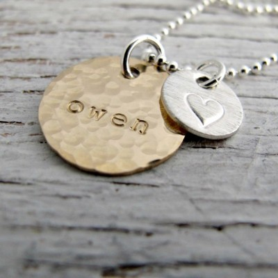Personalized Mother's Necklace, One Name, Gold and Silver, Hand Stamped Kids Name Necklace