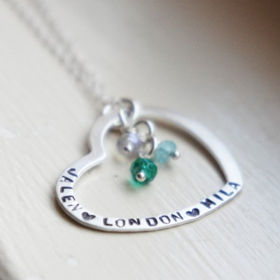 Personalized Name Birthstone Necklace Heart Stamped Mothers Jewelry Sterling Silver Gift for Her
