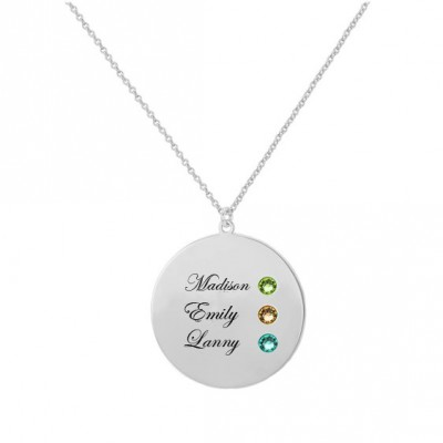 Personalized Names Disc Pendant Necklace in 925 Sterling Silver With the names and birthstones of your loved, Best Memory Necklace For Mom