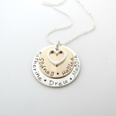 Personalized Necklace with Heart - Mix Metal Necklace - Custom Grandma Jewelry - Kids Names - Grandkids - Personalized Mothers Necklace