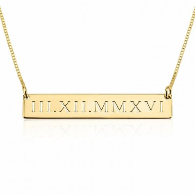 Personalized Roman Numeral Necklace, Date Necklace, Personalized Numerals Jewelry, Personalized Date Necklace, Date Bar Necklace