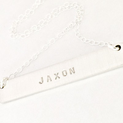 Personalized Silver Bar Name Necklace - DOUBLE SIDED Hand Stamped Custom Jewelry - Secret Message Trendy Mom Layered Stacking Necklace Gift