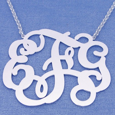 Personalized Sterling Silver 3 Initials Monogram Necklace 2 1/8 inch wide SM35C