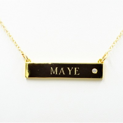 Personalized gift for BFF necklace initial bar cz Name bar Engraved CZ bar customized bar with CZ bar necklace with cz Personalized necklace