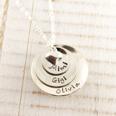 Personalized hand stamped sterling silver Mother's or Grandmother's name necklace, Mommy jewelry, Stacked disc necklace