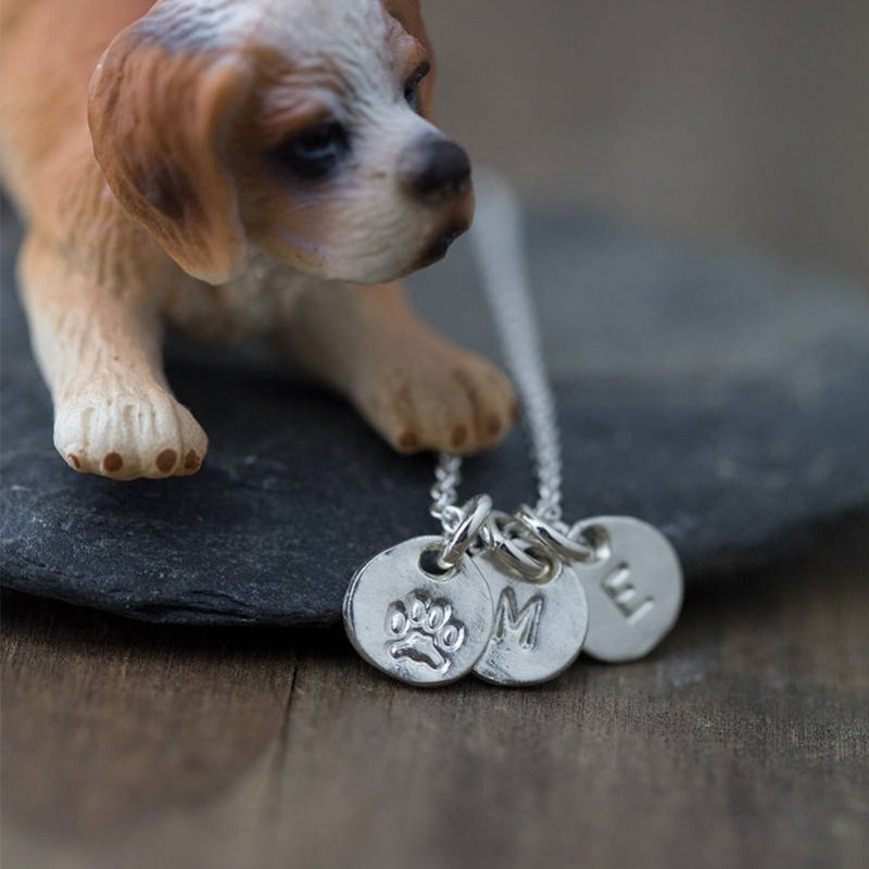 Pet Necklace Personalized | Dog Gifts for Owners | Paw Print Name Jewelry | Custom Hand ... : personalized pet gifts for owners - medton.org