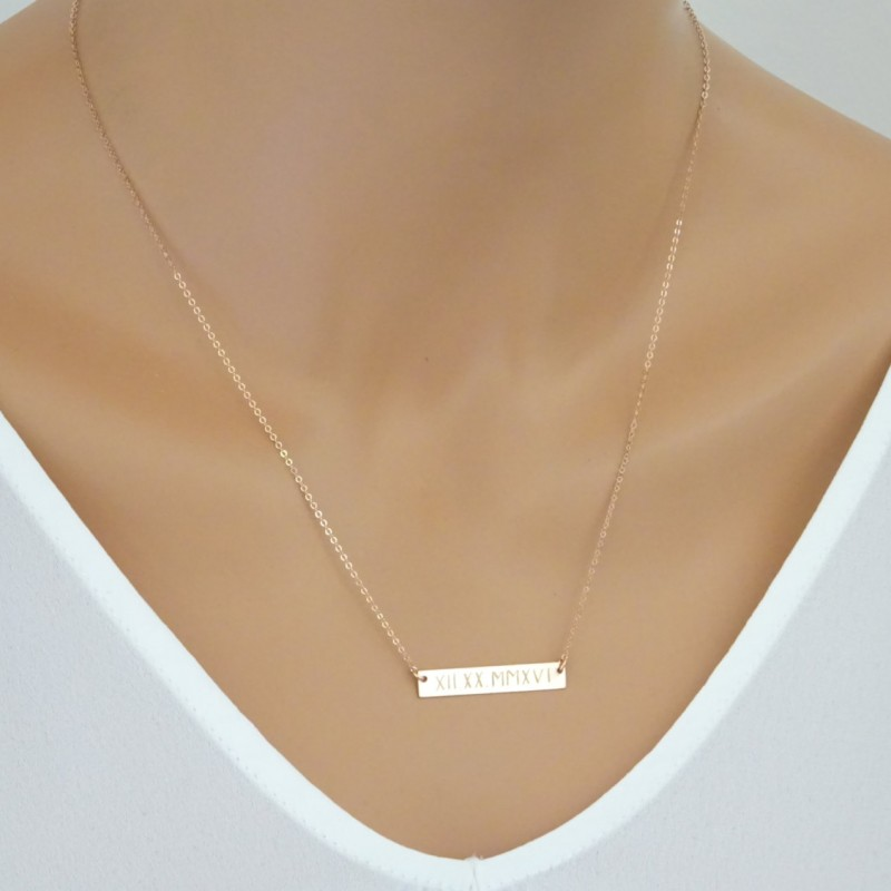 Rose Gold Bar Necklace Monogram Custom Name Roman Numeral Initial Your
