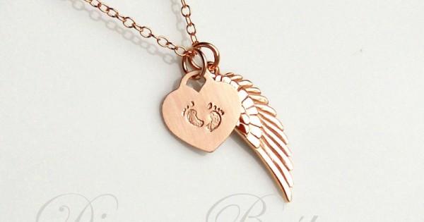 Dainty Wing Necklace Minimalist Memorial Necklace Tiny Wing Necklace Angel Wing Birthstone Necklace Simple Memorial Jewelry