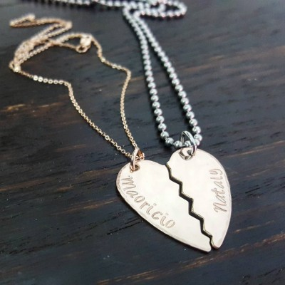 Rose gold 14kgf broken heart hand stamped couples necklace set, personalized jewelry by Miss Ashley Jewelry