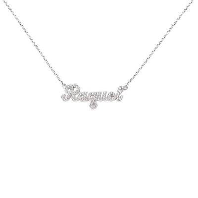 SNP01d Silver Bold Script Letter Name Necklace with Diamond