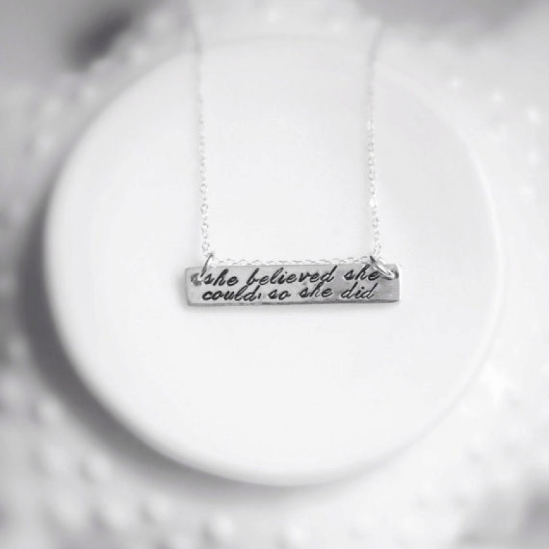 5b3d16ebbafe1 She Believed She Could So She Did Sterling SIlver Bar Necklace Fancy ...