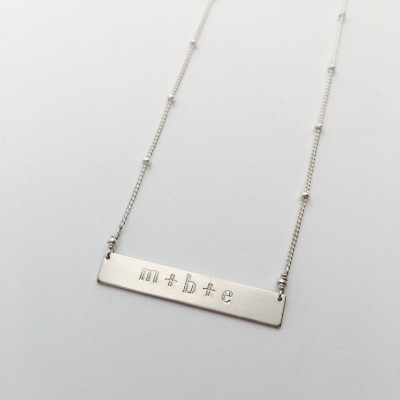 Silver Lowercase Initial Bar Necklace // Satellite Chain