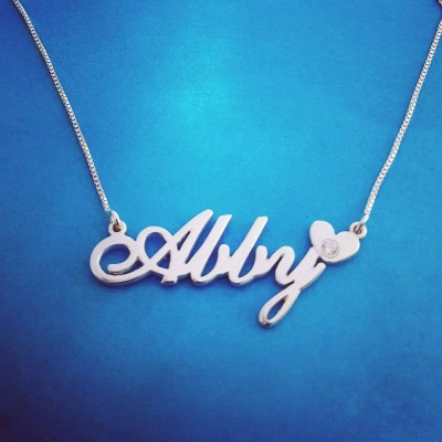 Silver Name Necklace For Girls Silver Name Necklace  Abby Heart Style Name Necklace, Personalized Jewelry Name Jewelry, Custom Name Jewelry