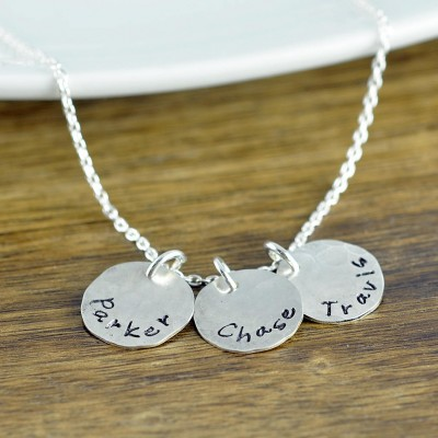 Silver Name Necklace, Kids Name Necklace, Stamped Name Necklace, Personalized Necklace, Mother's Necklace, Mom Jewelry