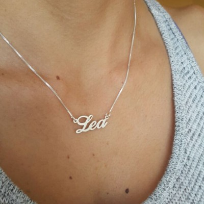 Silver Name Necklace With My Name Necklace In English Nameplate Necklace Name Chain Christmas Sale Personalized Hand Made Order Any Name