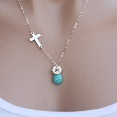 Silver sideways Cross necklace,Blessed Necklace,initial necklace,custom brithstone,custom font,relegious faith necklace,Mother jewelry