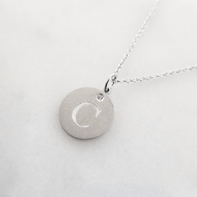 Silver/Gold-Plated Engravable Coin Diamond Necklace