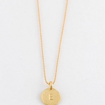 """Simple """" E """" Initial Minimal Gold Necklace Dainty Matte Gold Hammered Disc Delicate Handmade Jewelry Tiny Minimal Necklace"""
