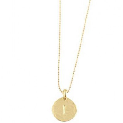 """Simple """" I """" Initial Minimal Gold Necklace Dainty Matte Gold Hammered Disc Delicate Handmade Jewelry Tiny Minimal Necklace"""