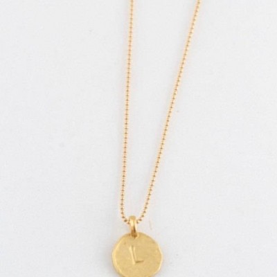 """Simple """" L """" Initial Minimal Gold Necklace Dainty Matte Gold Hammered Disc Delicate Handmade Jewelry Tiny Minimal Necklace"""