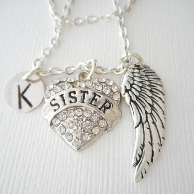 Sister, Angel Wing- Initial Necklace/ big sis, little sister, sisters jewelry and gifts, Necklace for Sisters, Special sister, girl gift