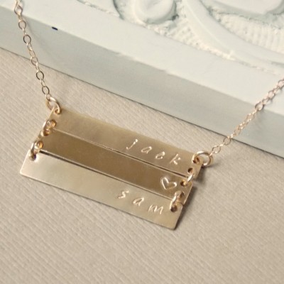 Stacked Bar Necklace, 1 2 3 4 Gold Nameplate, Personalized Jewelry, Silver, Family Necklace, Children's Name Necklace, Grandma Necklace