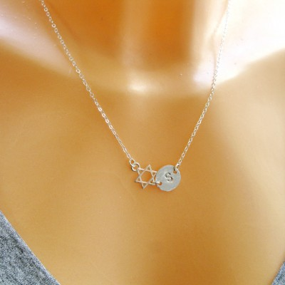 Star of David necklace, Jewish star necklace, Bat mitzvah gift, Star necklace, Initial necklace, Letter Necklace, Symbol jewelry,