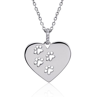 Sterling Silver Cat Dog Paw Necklace with Diamond Accent GIFT BOXED