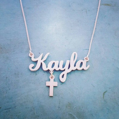 Sterling Silver Cross Pendant / Personalized Name Necklace / Silver Cross charm / Nameplate necklace / Silver Name  Necklace / Free Shipping