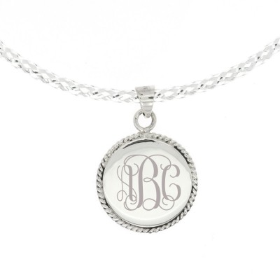 Sterling Silver Monogram Personalized Engravable Rope Edge Rope Trim Round Pendant Necklace