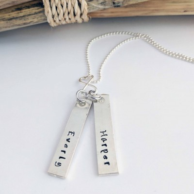 Sterling Silver Mother's Name Necklace - Hand stamped Jewelry - Mom jewelry - Kids name necklace - Silver Mother Jewelry