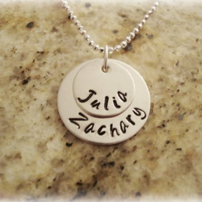 Sterling Silver Stamped Name Necklace 2 Discs, Mother Necklace, Children Name Necklace, Grandmother Necklace