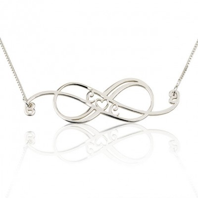 Sterling Silver Swirly Initial Infinity Necklace with chain