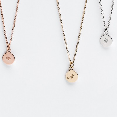 Tiny Initial Necklace - Personalized Initial Disc Charm Necklace - Engraved Pendant - Best Gifts - Simple Minimalist Jewelry LITTIONARY