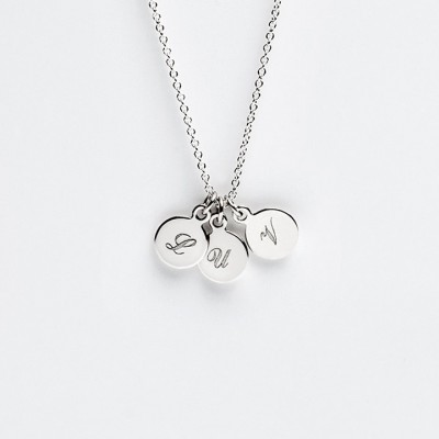 Tiny Three Disc Initial Necklace - Personalized Charm Pendant - Sterling Silver - Engravable Gifts - Simple Minimalist Jewelry LITTIONARY