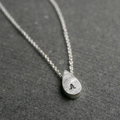 Tiny sterling silver pear shaped initial monogram personalized drop pendant necklace