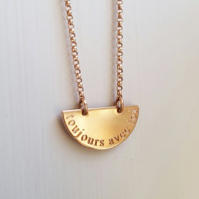 Toujours Avec Toi / Always With You Rose Gold Necklace - Rose Gold Disc Necklace - Message Necklace - Rose Gold Necklace
