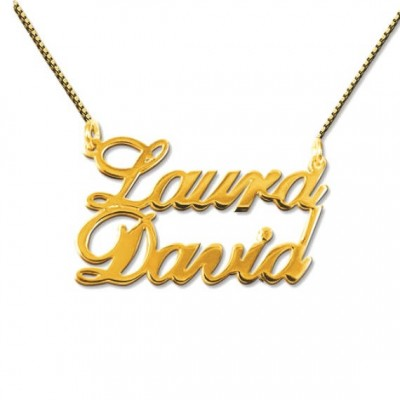 Two Name Necklace in 18K Gold Plated over Silver 0.925