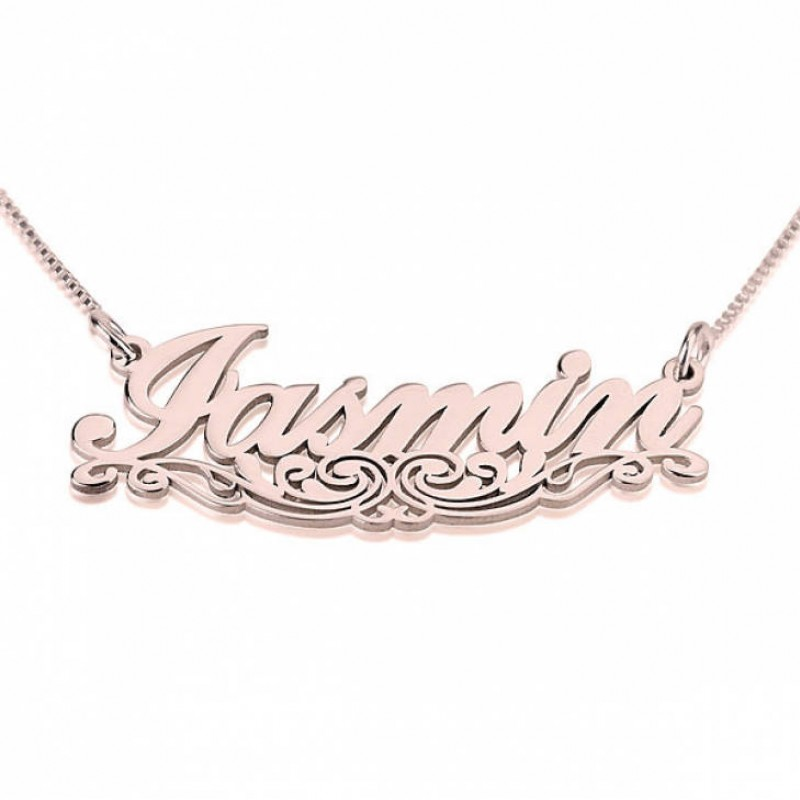 Underlined Name Necklace Swirl Line Rose Gold Plating Custom Name Necklace Personalized Name Jewelry Christmas Gift